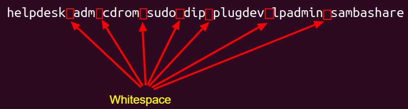 Output entries separated by Whitespace